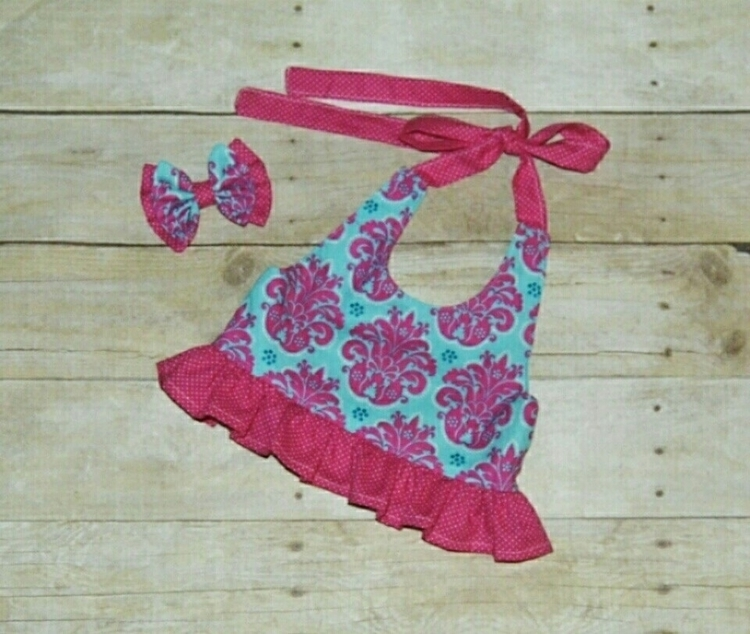 Blue/pink Damask halter style r - kattskreations | ello