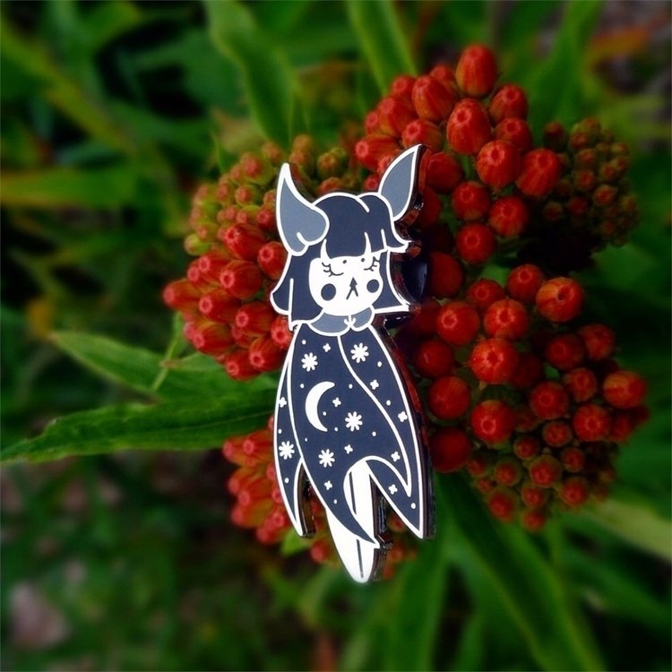 Midnight Moon Bat pins support - nightlymade | ello