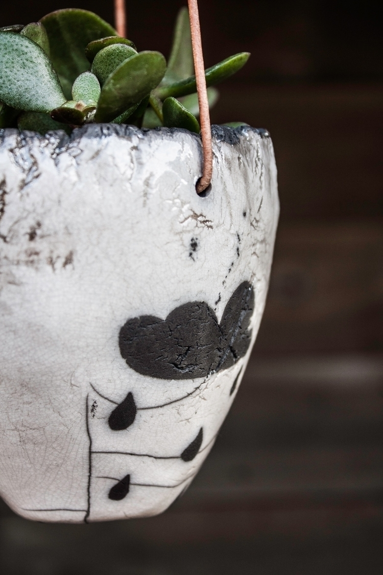 Raku hanging planter rain cloud - highyieldstudio | ello