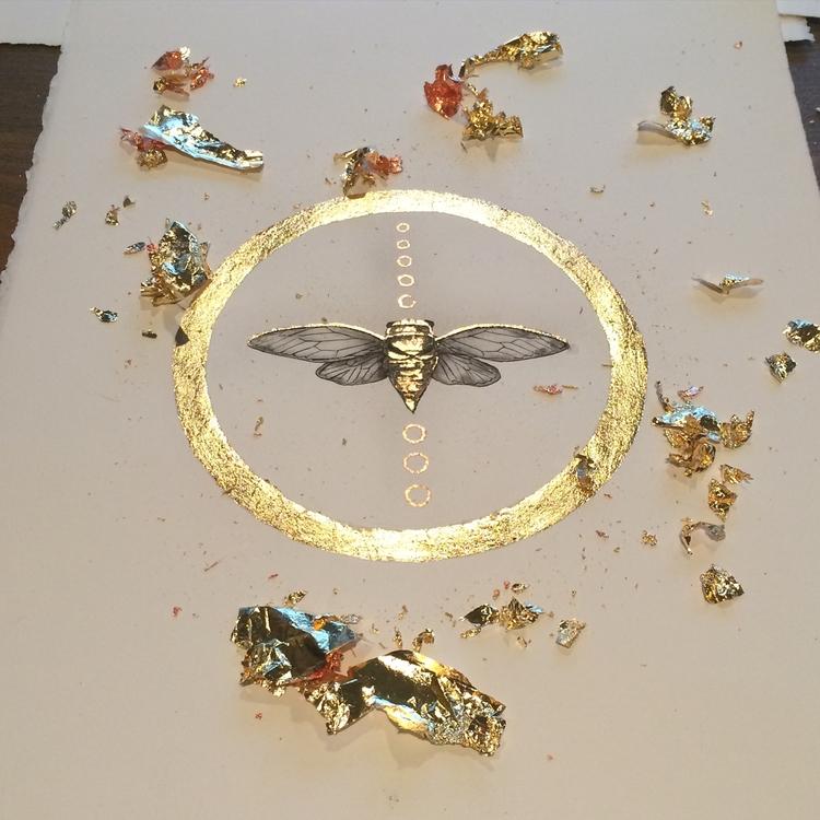 Cicada Gold Copper. Ink Paintin - alexakarabin | ello