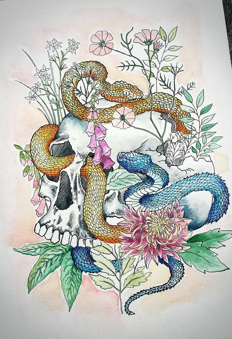'High Summer' Pen, watercolour - polkip | ello