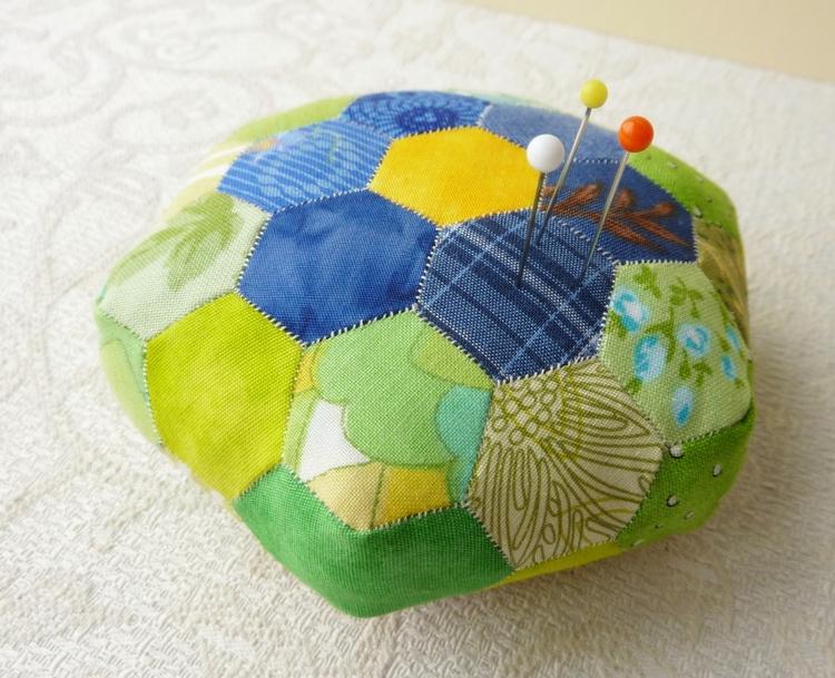 Hexagonal Patchwork Pincushion  - firehorsetextiles | ello