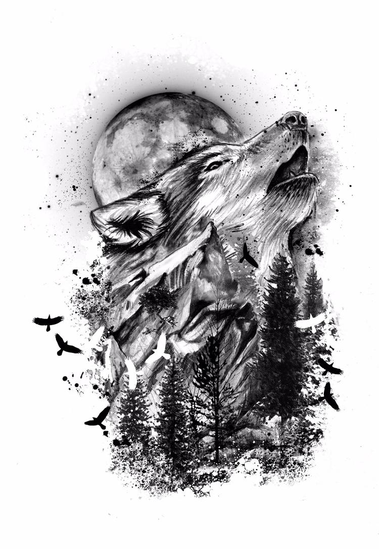 +Wolf Tattoo Design+ - fashionillustration - ibreathart | ello