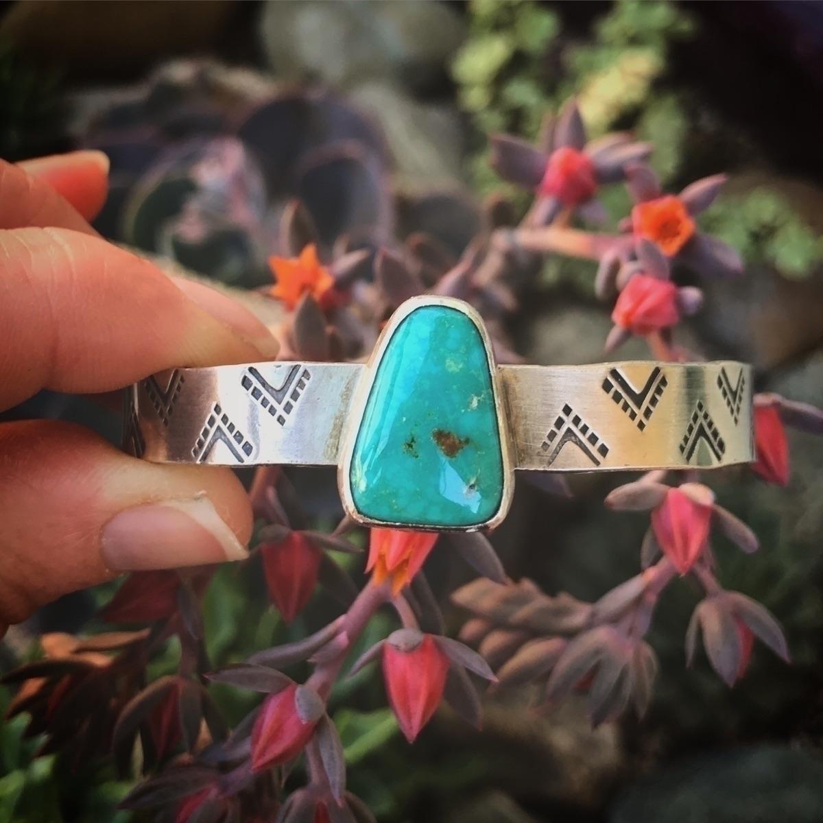 Blue gem turquoise hand stamped - sierrasagedesigns | ello