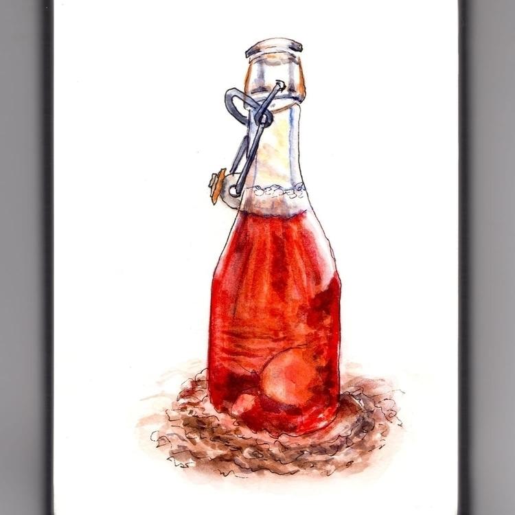 - Day 10 Bottle Sand - WorldWatercolorMonth - doodlewash | ello