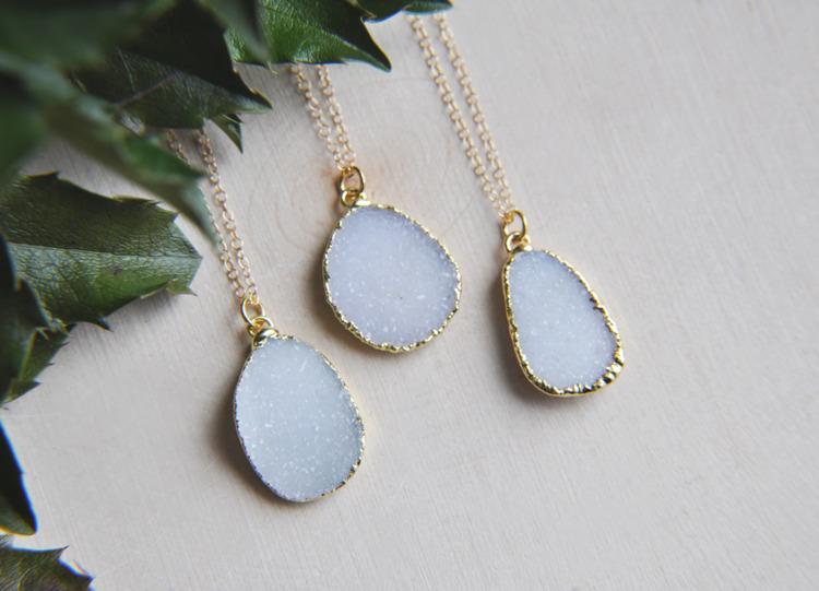 natural, druzy, crystal, necklaces - fawinginlove | ello