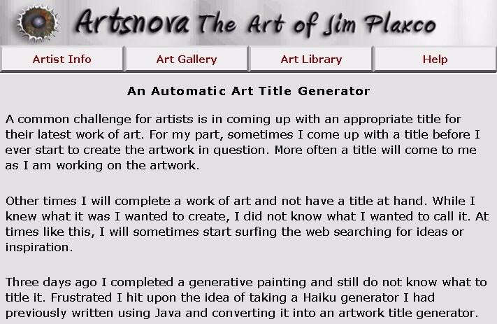 artists tough time coming title - jim_plaxco | ello