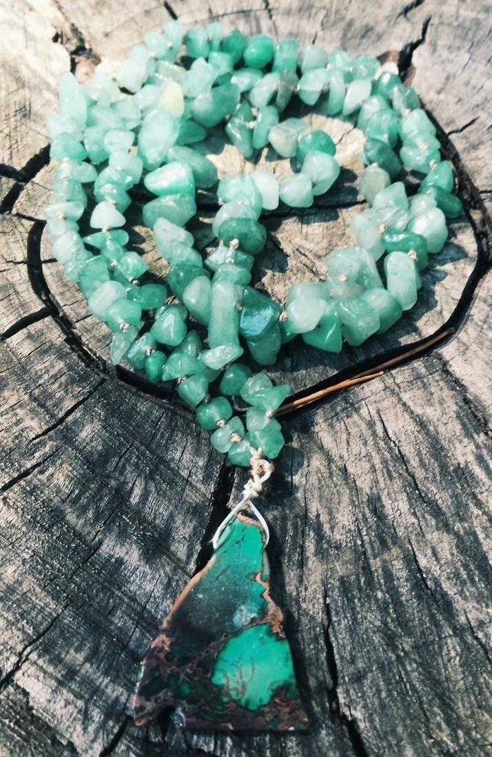 Aventurine chip bead necklace c - gypsyxjewels | ello