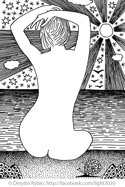 girl sea. Gel ink pen - woman, nude - dmytroua | ello