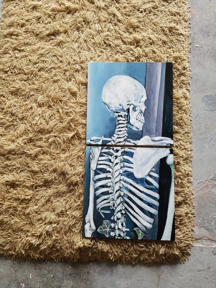 skeleton, ivy, acrylicpainting - ashlyn_metcalf | ello