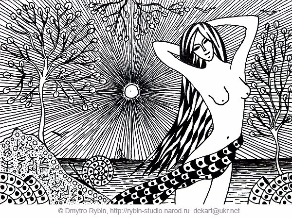 woman sea. Gel pen - girl, sun, graphicsart - dmytroua | ello