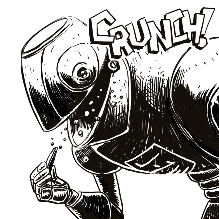 crunch bot eats metal! illustra - linedetail | ello