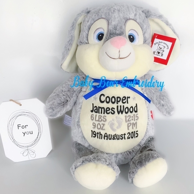 fluffy! love bunny black grey b - babybearembroidery | ello