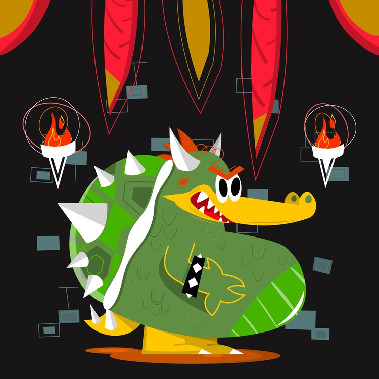 King - illustration, retro, bowser - natekogan | ello