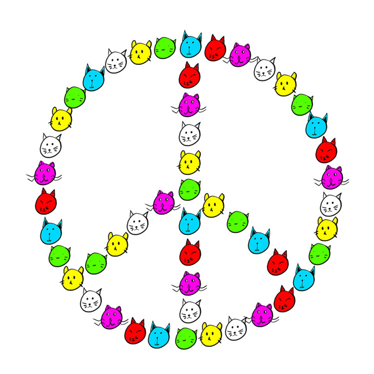 Peace Cats Colour - cats fight  - conas16 | ello