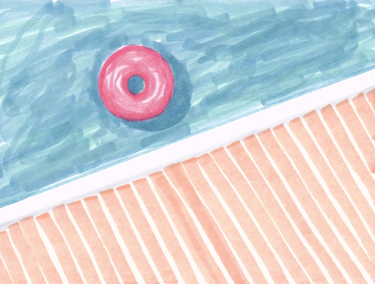 Watercolor swimming pool illust - designdn   ello