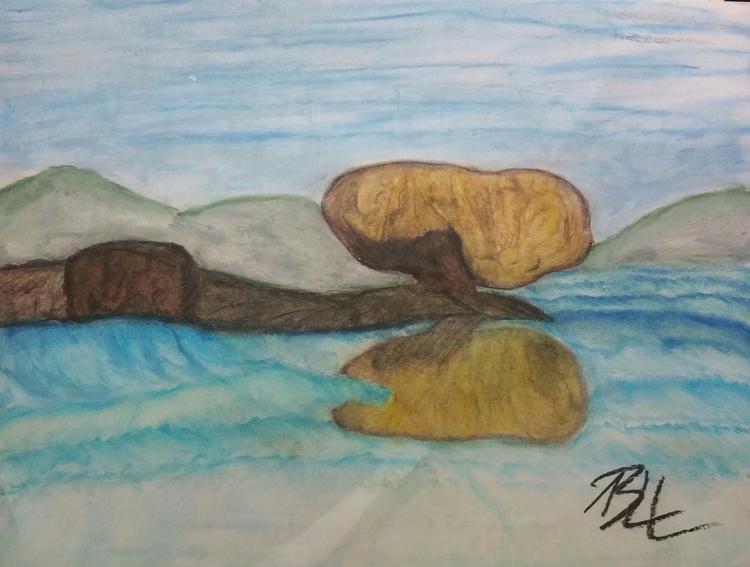 Zen balaclava rock, oil pastel  - totallytwistedfickity | ello