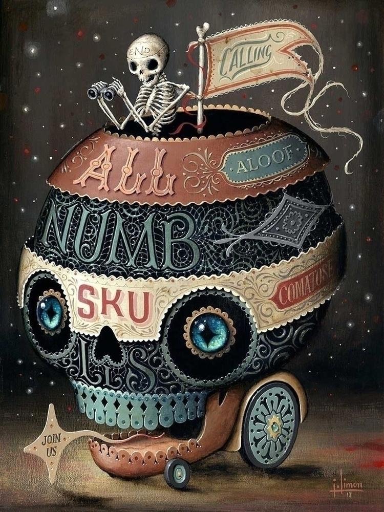 Calling Numbskulls 9x12, acryli - jasonlimon | ello