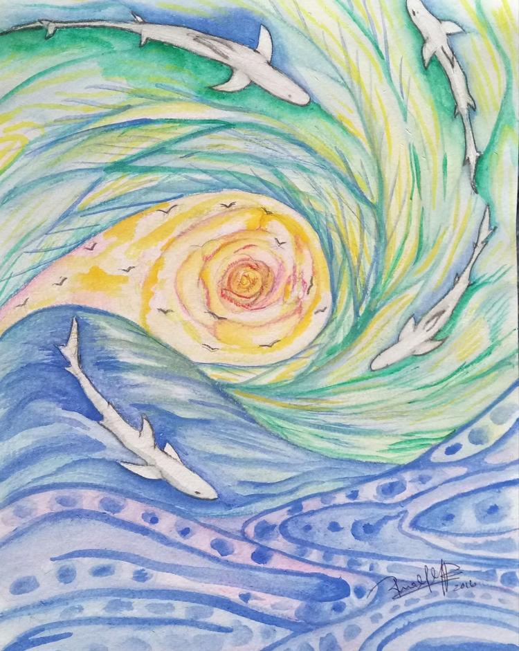 Float - watercolor, sun, rose, blueshark - rinamr | ello