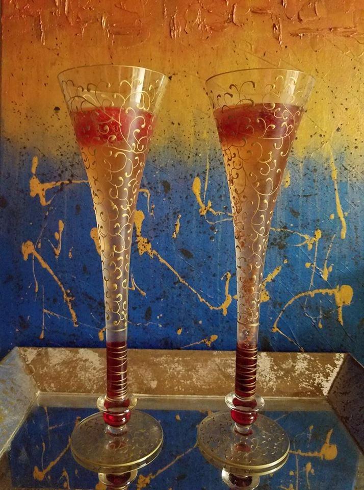 Art backdrop pair champagne gla - trulypatsy | ello