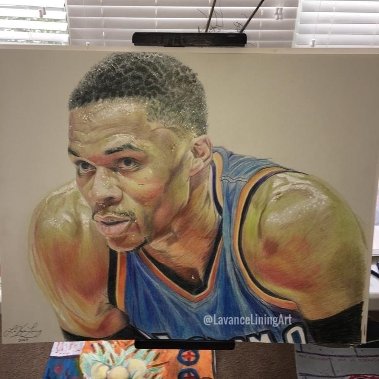 Russell Westbrook portrait 24x3 - lavanceliningart | ello