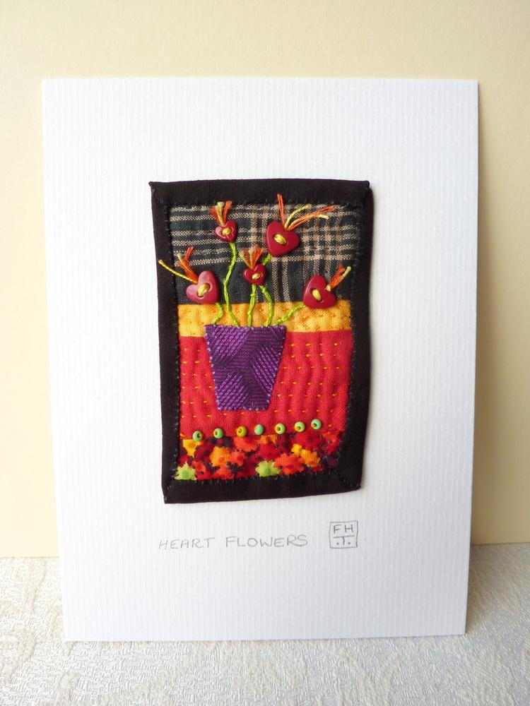 Heart Flowers - hand sewn small - firehorsetextiles | ello