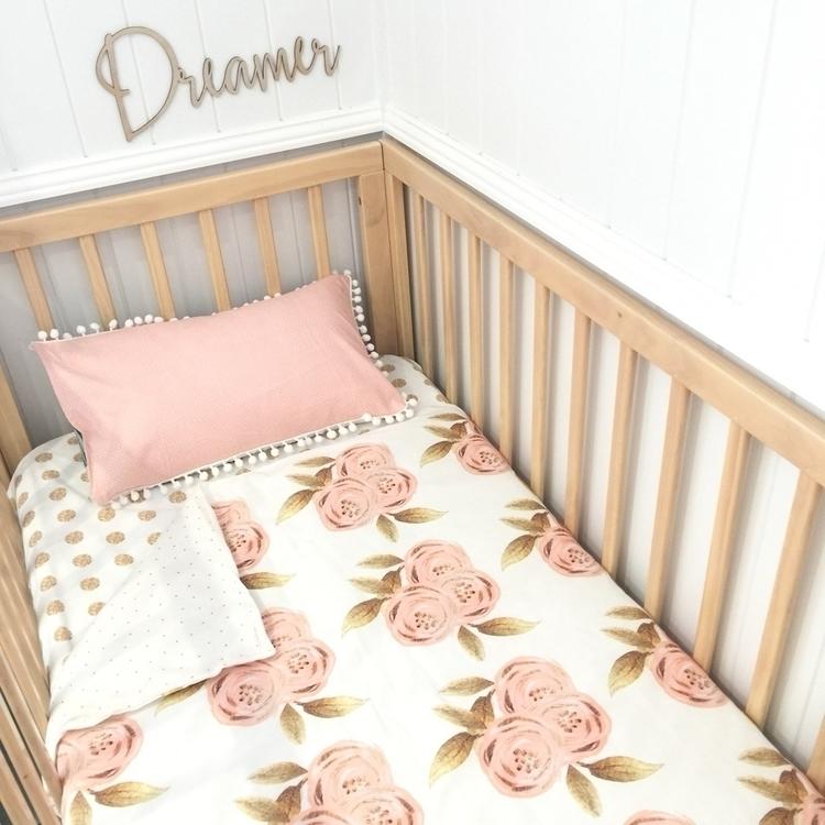 blush gold floral cot quilt - bubbleslane | ello