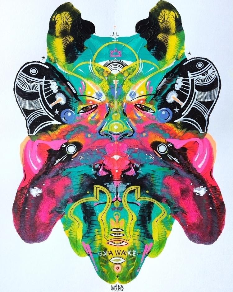 Humanimal 9x12 Acrylic paint bl - awake_pdx | ello