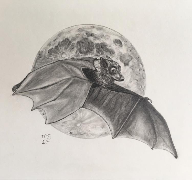 variant bat flying moon haunted - thornbird | ello