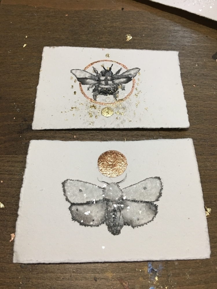 Tiny ink paintings. $25 - moth, bee - alexakarabin | ello
