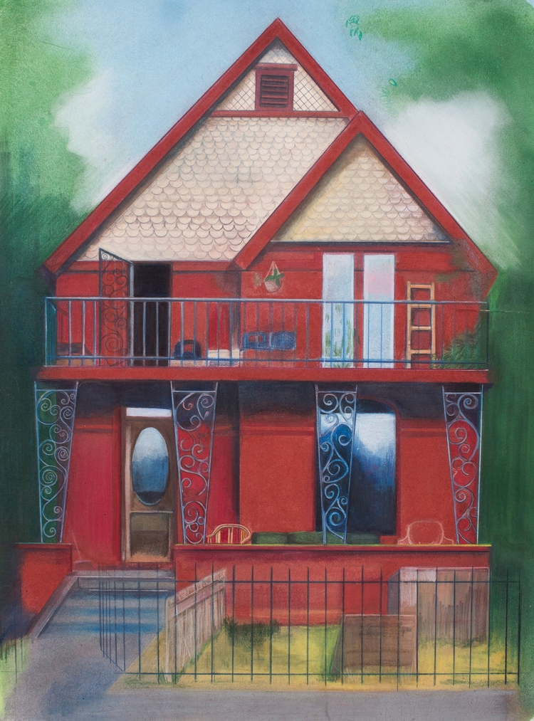 house, pastel painting 30x22 - shiraroth | ello