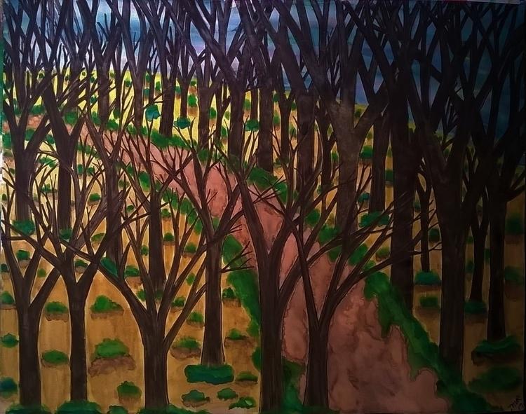 Path 11x14 watercolor pen - donebyme - teerivsaid   ello
