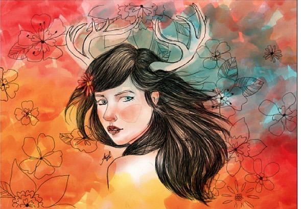 Antlers - fantasy, digital, painting - summergurl | ello