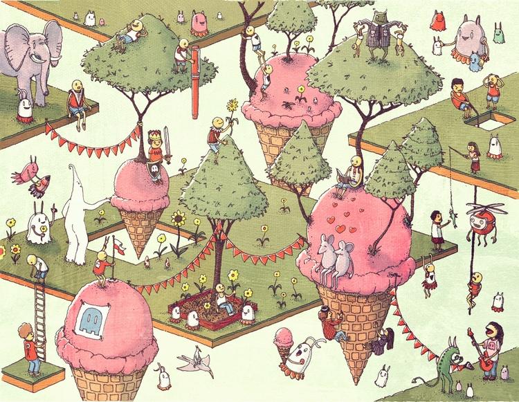 Ice Cream Zen Thin Red Pen man  - junkyardsam | ello