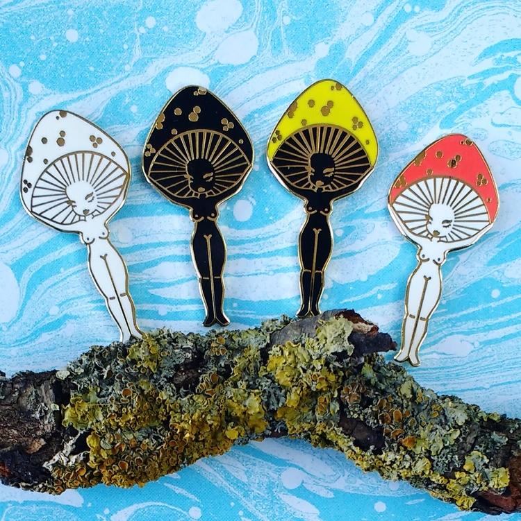Mushroom girl enamel pins etsy  - gildedcreatures | ello
