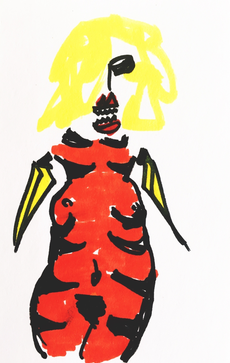 Banana-Arm Woman Tiger Stripes  - jkalamarz | ello