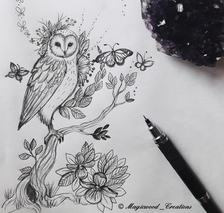 Owl sketch :sparkles:🦉 - owl, owllove - magicwood_creations | ello