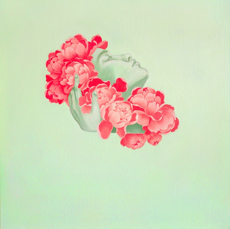 Peony, 24 24, Acrylic Canvas em - florencesolis | ello