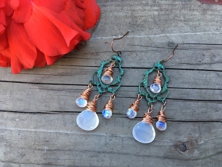 Verdigris chandelier earrings,  - kookoomamadesign | ello