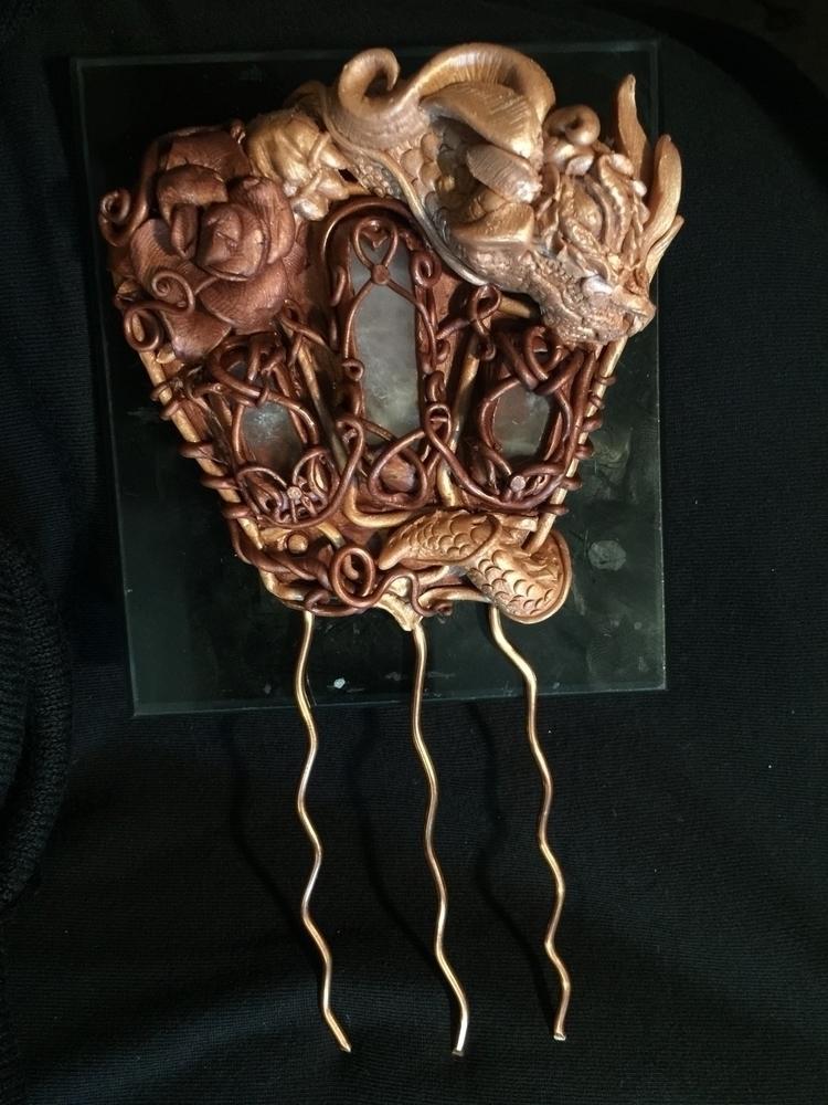 dragon flower hair comb experim - aestheticambrosia   ello