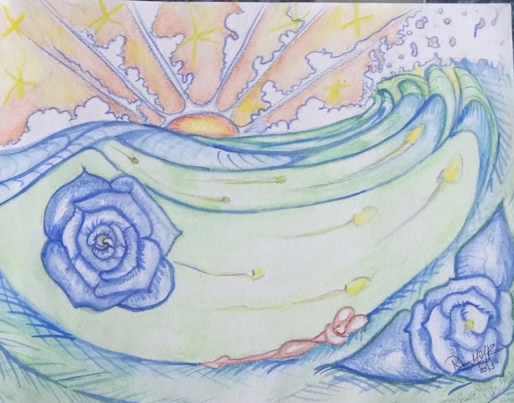 flow - watercolor, rose, sunset - rinamr | ello