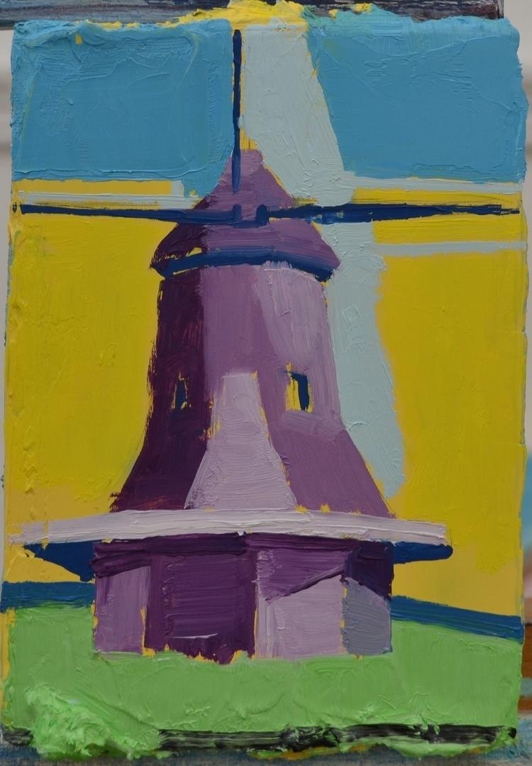 Dutch Windmill, 2017. Oil wood - albertzwaan | ello