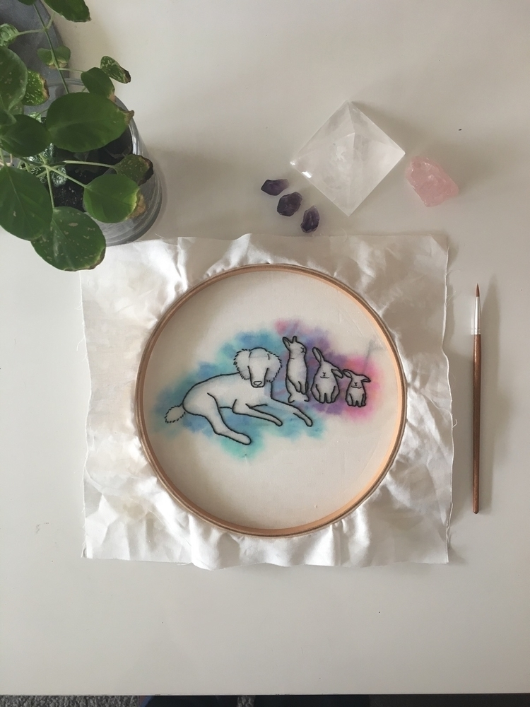 Furbaby embroidery watercolour - crystalembroidery | ello