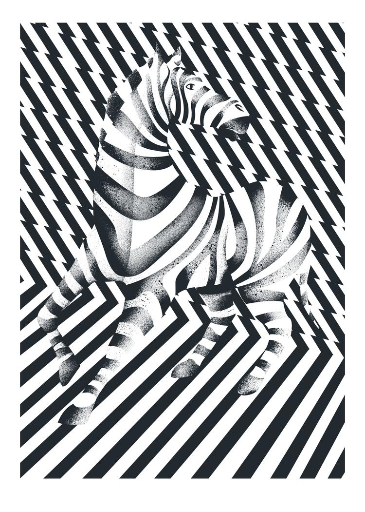 Mono Zebra Illustration - Print - tomscampsite | ello