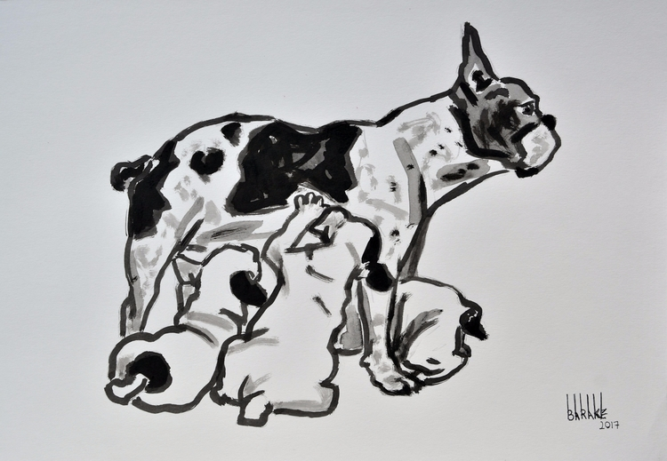 FRENCH BOULEDOGUE, INK PAPER bo - barakesculptor | ello