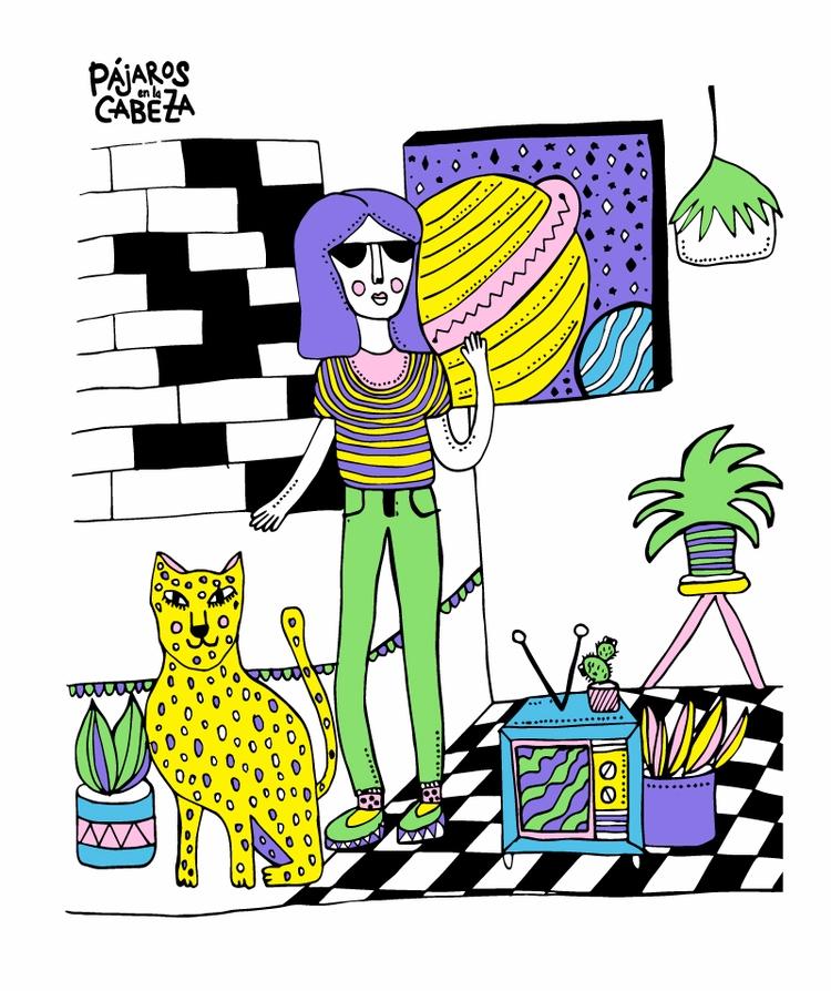illustration, girl, illustrator - eve-pajaros | ello