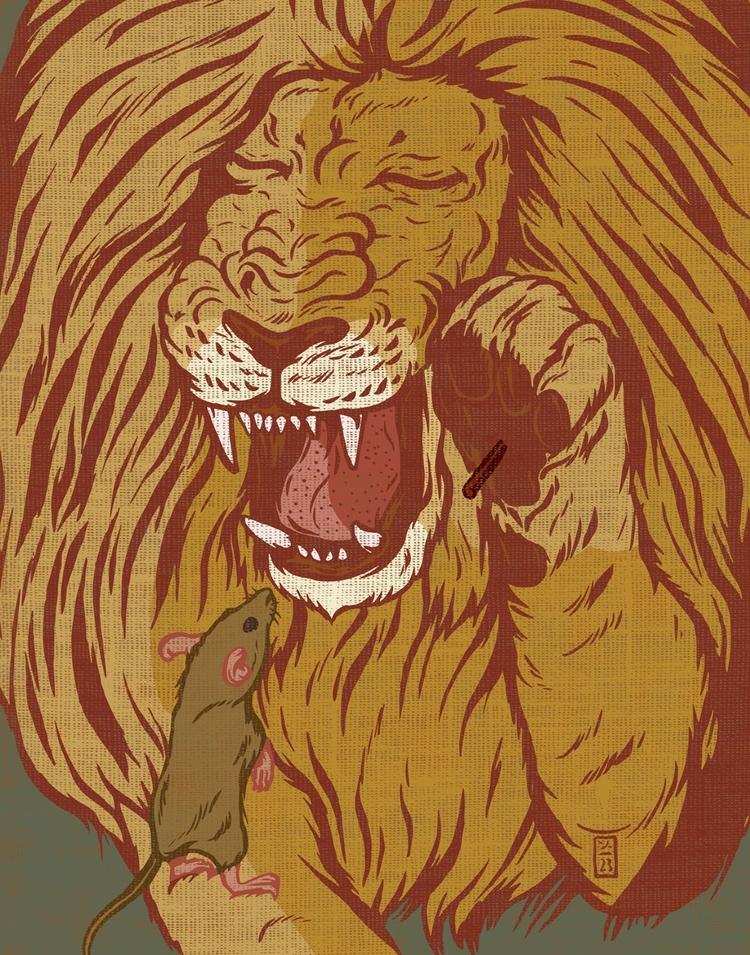 Fable Lion Mouse - illustration - thomcat23   ello