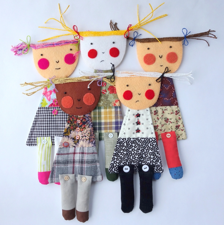 Shy Girl art dolls - artdolls, softsculpture - firehorsetextiles | ello