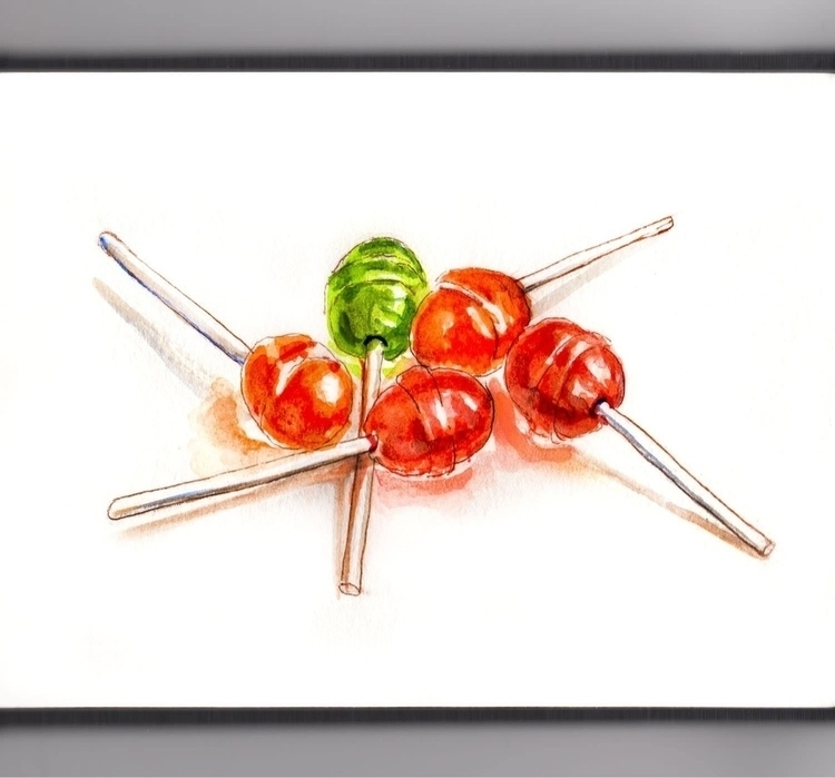 - Day 28 Handful Lollipops - WorldWatercolorMonth - doodlewash   ello