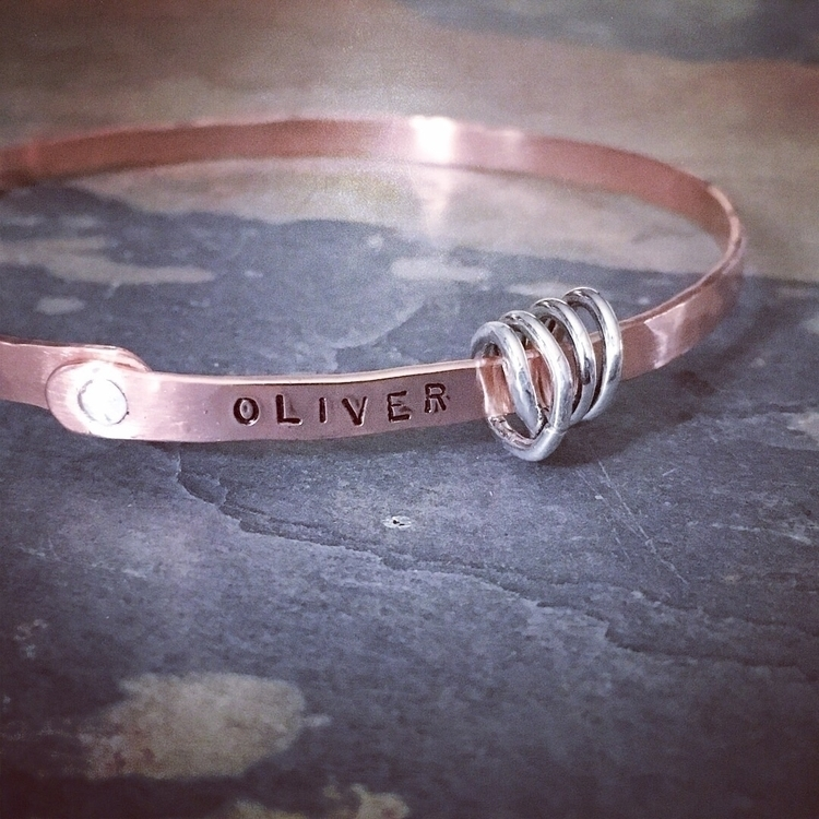 hammered copper bangle silver r - kimzvisionquest | ello